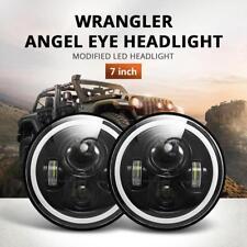 2 x 7inch Round LED Headlight Hi/Low Beam Halo Angle Eyes For Jeep Wrangler JK