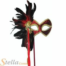 Masquerade Ball Feather Face Eye Masks On A Stick Ladies Fancy Dress Accessory