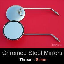 Kawasaki S1 S2 H1 KH250 KH500 8mm Chrome Steel Metal Mirror Round Circular Pair