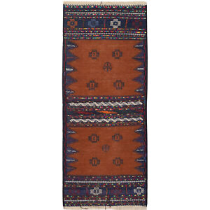 171 x 71cm Pure Wool Afghan Oriental Hand-Knotted Tribal Table Sheet Kilim #2389