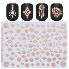Rose Gold 3D Nail Stickers Tattoos Metallic  Nails Adhesive Transfer Decals Tips