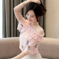 Summer Women Ruffle Off Shoulder Short Sleeve Casual Chiffon T Shirt Blouse Tops