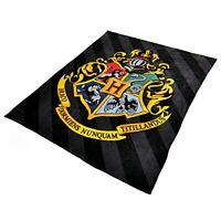 Harry Potter Hogwarts Sigil Fleece Blanket Black Multicoloured 200x220cm