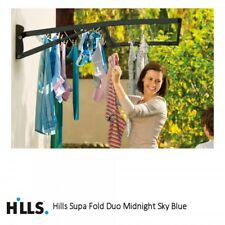 Hills Supa Fold Duo Wall Mounted Washing Line Midnight Sky Blue (23m line space)