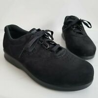 SAS Free Time Womens Black Leather Tripad Comfort Walking Shoes Lace Up 8 WW