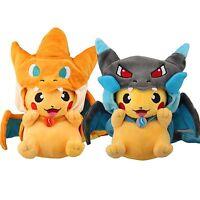 2pcs Pokemon Pikachu With Charizard hat Laughing Plush Soft Toy Stuffed Doll 9''