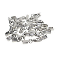 12Sets Fold Over Cord End Crimp Caps Lobster Hook Jewelry Making Silver