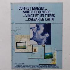 Publicité presse magazine rock années 80 20X27 Coffret GERARD MANSET