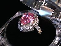 Pink Teardrop-Cut CZ Ring in Solid 925 Sterling Silver - 8 Grams - Sizes 6 7 8 9