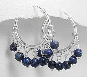 4g Solid Sterling Silver Natural Royal Lapis Lazuli Endless Hoop Earrings 30mm