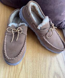 CLARKS INDOOR + OUTDOOR SLIPPERS GENUINE Leather & Suede TRAPPER MEN'S SIZE 11