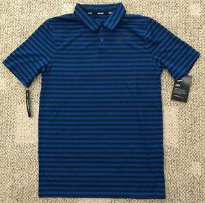 Nike Dry Boys Victory Stripe Polo Short Sleeve Golf Shirt Blue Size Large L