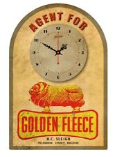 GOLDEN FLEECE  VINTAGE  TIN SIGN CLOCK Agent for..