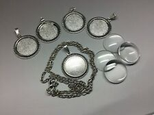 5 x Silver Round Cabochon Setting Glass and chain make your own neckace kit 20mm