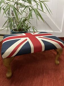 Hand Crafted Union Jack Heavy Fabric Footstool/Ottoman - Queen Anne Wooden Legs