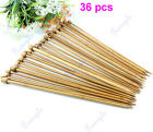 36 pcs 35cm Carbonized Single Pointed Bamboo Crochet Knitting Needles 18 Sizes