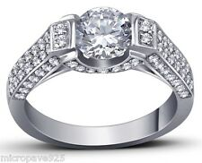 Gorgeous Solitaire Ring With 1.5 Carat Cubic Zirconia Stone Pave Setting Silver