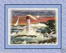 LIGHTHOUSE fabric SEABOUND FABRIC panel quilt TOP Wallhanging BY THE SEA NEW