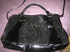 NWOT CHARLES DAVID LG WOVEN PATENT LEATHER BAG