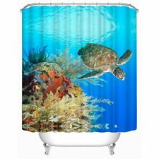 Shower Curtain Sea Turtle Ocean Scenery Waterproof Fabric 72 inch 12 Hooks