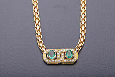 Vintage 1950s $12K French Signed 3ct Colombian Emerald Diamond 18k Gold Necklace