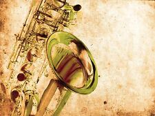 Art PRINT Poster Music Drawing Brass Sax Saxophone Instrument lfmp 0563