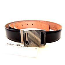 L-3077204 New Salvatore Ferragamo Black Enamel Buckle Belt Size US 32 Fits 30