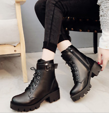 Punk Womens Round Toe Ankle Boots Lace Up Mid Heel Platform Motor Bootie Shoe Sz