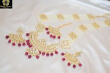 Indian Pink Raani Haar Necklace Earring Maang Tikka Set Bollywood Jewelry Diwali