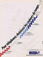 PUBLICITE ADVERTISING 045 1984 PTT TELECOMMUNICATION nouveaux horaires à tarif