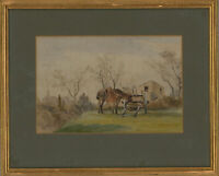 T.B.W.E. - Framed Early 20th Century Watercolour, Horse and Cart
