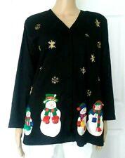 VICTORIA HARBOUR Cardigan w/Buttons Sweater Black Snowman Decorate Top Sz L