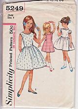 5249 SIMPLICITY c.1963 - DRESS Full Skirt 2 Necklines & SLIP - GIRLS Sz 4