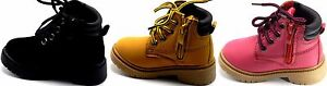 Little Kids Unisex Combat Lace Up Zip Round Toe  Ankle High Work Boot Shoes 5-10