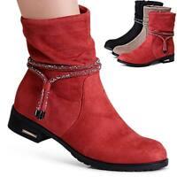 Damen Velours Stiefeletten Ankle Boots Booties Kurz Stiefel Glitzer Kordel