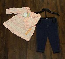 Carter's Girl's Rosa / Blanco superior con volantes / túnica y Denim Look Leggings Set