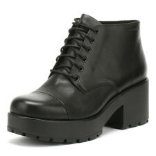 Vagabond Womens Black Dioon Boots Mid Heel Lace Up Leather Ankle Shoes