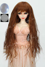 "8-9-10"" 1/3 BJD HUAL Brown Curly Wave Long Wig LUTS Doll SD DZ DOD Hair +Cap"