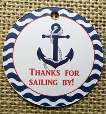 15x Nautical Birthday Tags Labels Anchor Nautical Theme Party Favour Decoration