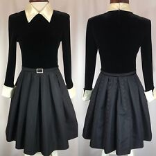 Vintage Saks Fifth Avenue Rimini Boutique School Girl Black White Holiday Dress