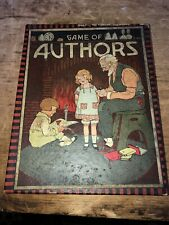 Rare Antique Game Of Authors Box And 32 Cards Neat Display