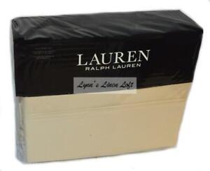 RALPH LAUREN Dunham Oat 4P FULL SHEET SET New Cotton Sateen BEIGE