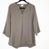 J Jill Pure Women's V-Neck Shirt Top Textured Cotton Tunic 3/4 Sleeve Medium