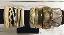 Cream Gold Tan Bracelets 13 Lot  Bangle Metal Lucite Plastic Retro Vintage