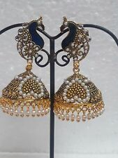 Indian Pearl Gold Plated Kundan Earrings Wedding Jewelry Peacock Jhumka Dangler