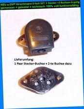 3-er SET HIRSCHMANN 6-pol 1 Paar Stecker/Buchse +1Buchse Geräte Jukebox Funk Kfz