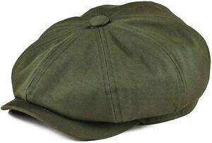BOTVELA Men's 8 Piece Newsboy Flat Cap 100% Cotton Gatsby Ivy Golf Cabbie Hat