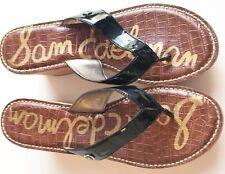 SAM EDELMAN Romy Black Patent Cork Wedge Sandals Sz 10 M