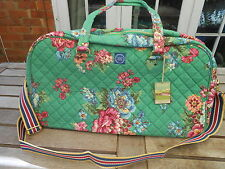 JOULES GREEN FLORAL CANVAS SHOULDER BAG OVERNIGHT MATERNITY WEEKEND HAND LUGGAGE