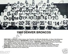 1960 DENVER BRONCOS INAUGURAL FIRST AFL TEAM 8X10 PHOTO